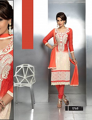 THANKAR LATEST EMBROIDERED DESIGNER ORANGE STRAIGHT SUITS @ Rs1421.00