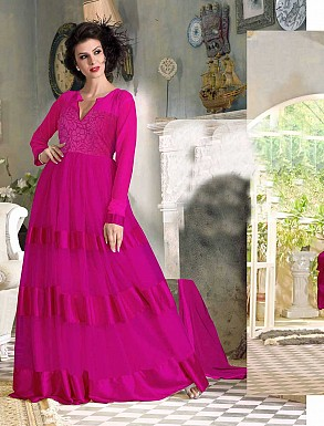 THANKAR FABULOUS LATEST DESIGNER DARK PINK ANARKALI SUITS @ Rs1421.00