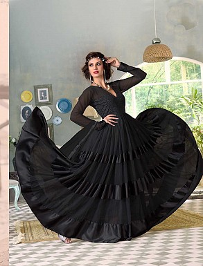 THANKAR FABULOUS LATEST DESIGNER BLACK ANARKALI SUITS @ Rs1421.00
