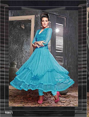THANKAR FABULOUS LATEST DESIGNER SKY ANARKALI SUITS @ Rs1977.00