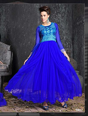 THANKAR FABULOUS LATEST DESIGNER BLUE ANARKALI SUITS @ Rs1977.00