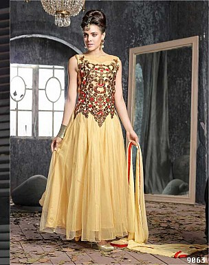 THANKAR FABULOUS LATEST DESIGNER BEIGE ANARKALI SUITS @ Rs1359.00