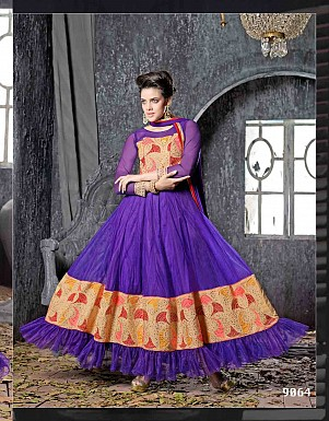 THANKAR FABULOUS LATEST DESIGNER NAVY BLUE ANARKALI SUITS @ Rs1977.00