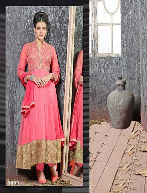 THANKAR FABULOUS LATEST DESIGNER PEACH ANARKALI SUITS @ Rs1977.00