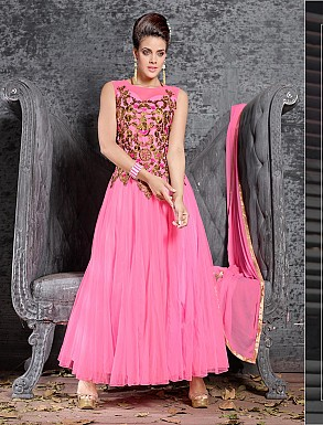 THANKAR FABULOUS LATEST DESIGNER PINK ANARKALI SUITS @ Rs1359.00