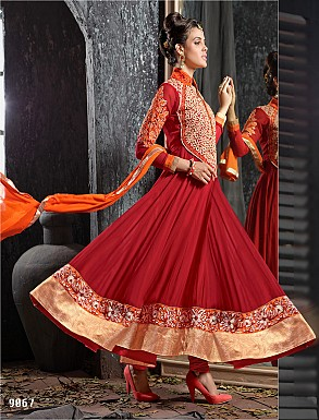THANKAR FABULOUS LATEST DESIGNER MAROON ANARKALI SUITS @ Rs1977.00