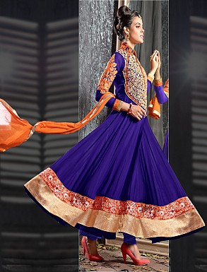 THANKAR FABULOUS LATEST DESIGNER DARK BLUE ANARKALI SUITS @ Rs1977.00