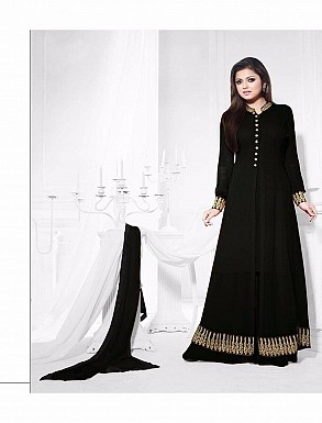 THANKAR ATTRACTIVE LATEST DESIGNER DARK BLACK ANARKALI SUITS @ Rs1235.00