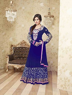 THANKAR LATEST EMBROIDERED DESIGNER BLUE ANARKALI SUITS @ Rs1977.00