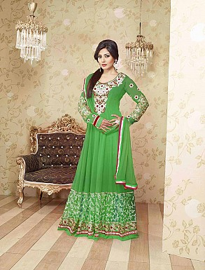 THANKAR LATEST EMBROIDERED DESIGNER GREEN ANARKALI SUITS @ Rs1977.00