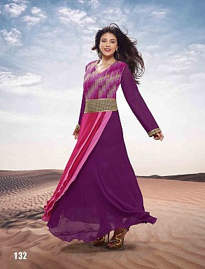 THANKAR HEAVY FLOOR LENGTH PURPLE ANARKALI SUIT @ Rs1977.00