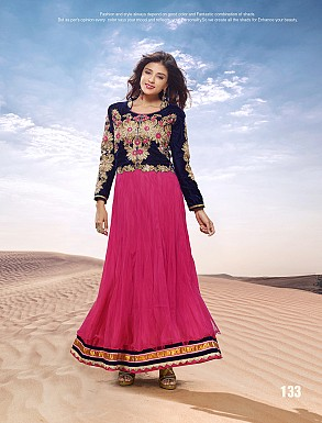 THANKAR HEAVY FLOOR LENGTH PINK AND BLACK ANARKALI SUIT @ Rs2966.00