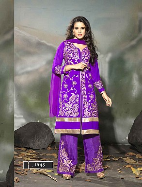THANKAR LATEST EMBROIDERED DESIGNER PURPLE STRAIGHT SUIT @ Rs1977.00