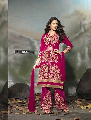 THANKAR LATEST EMBROIDERED DESIGNER DARK PINK STRAIGHT SUIT @ Rs1977.00