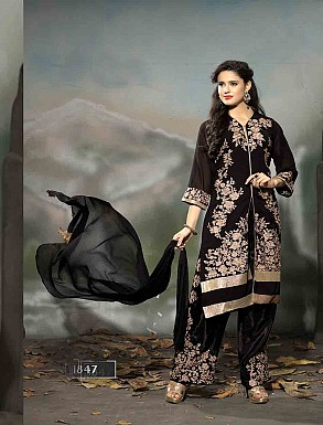 THANKAR LATEST EMBROIDERED DESIGNER BLACK STRAIGHT SUIT @ Rs1977.00