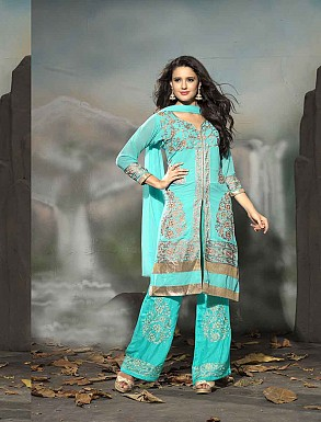 THANKAR LATEST EMBROIDERED DESIGNER AQUA STRAIGHT SUIT @ Rs1977.00