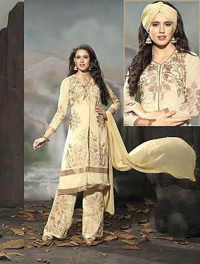 THANKAR LATEST EMBROIDERED DESIGNER CREAM STRAIGHT SUIT @ Rs1977.00