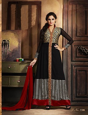 THANKAR ATTRACTIVE LATEST DESIGNER BLACK AND RED ANARKALI SUITS @ Rs2409.00