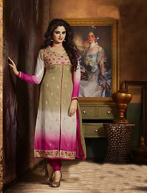 THANKAR ATTRACTIVE LATEST DESIGNER PINK AND OLIVE GREEN ANARKALI SUITS @ Rs2409.00