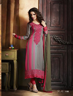 THANKAR ATTRACTIVE LATEST DESIGNER PINK AND GREY ANARKALI SUITS @ Rs2409.00
