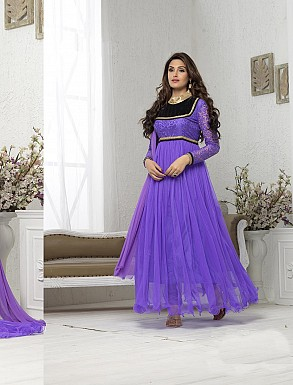 THANKAR FABULOUS LATEST DESIGNER LAVENDER ANARKALI SUITS @ Rs1050.00
