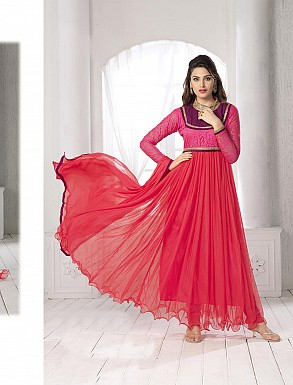 THANKAR FABULOUS LATEST DESIGNER RED HOT ANARKALI SUITS @ Rs1050.00