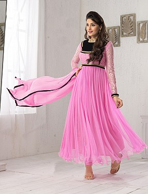 THANKAR FABULOUS LATEST DESIGNER PINK ANARKALI SUITS @ Rs1050.00