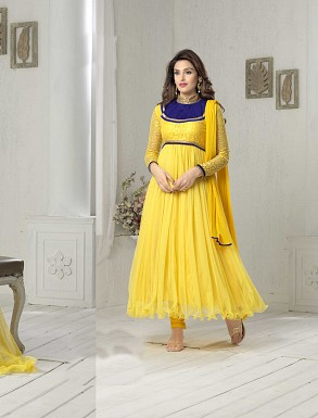 THANKAR FABULOUS LATEST DESIGNER YELLOW ANARKALI SUITS @ Rs1050.00