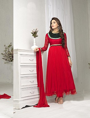 THANKAR FABULOUS LATEST DESIGNER RED ANARKALI SUITS @ Rs1050.00