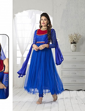 THANKAR FABULOUS LATEST DESIGNER BLUE ANARKALI SUITS @ Rs1050.00