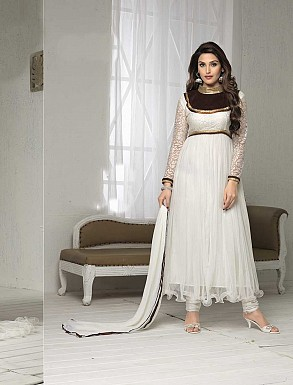 THANKAR FABULOUS LATEST DESIGNER WHITE ANARKALI SUITS @ Rs1050.00