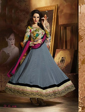 THANKAR FABULOUS LATEST DESIGNER GREY ANARKALI SUITS @ Rs3460.00