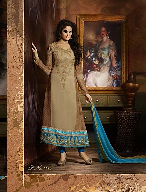 THANKAR FABULOUS LATEST DESIGNER CREAM AND SKY ANARKALI SUITS @ Rs2966.00