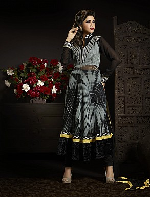 THANKAR FABULOUS LATEST DESIGNER GREY AND BLACK ANARKALI SUITS @ Rs2966.00