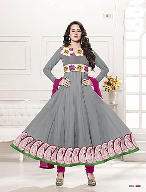 THANKAR HEAVY FLOOR LENGTH GREY AND PINK ANARKALI SUIT @ Rs1606.00