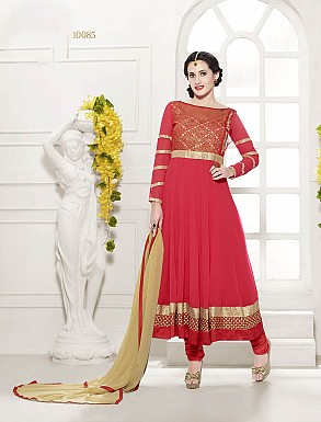 THANKAR HEAVY FLOOR LENGTH RED ANARKALI SUIT @ Rs1606.00