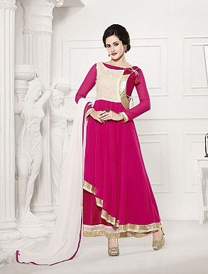 THANKAR HEAVY FLOOR LENGTH PINK AND WHITE ANARKALI SUIT @ Rs1606.00