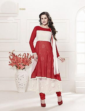 THANKAR HEAVY FLOOR LENGTH RED AND WHITE ANARKALI SUIT @ Rs1606.00