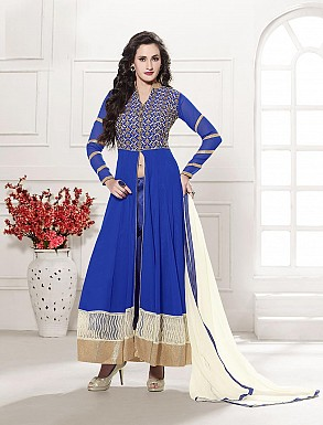 THANKAR HEAVY FLOOR LENGTH BLUE AND WHITE ANARKALI SUIT @ Rs1606.00