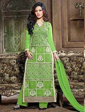 THANKAR LATEST EMBROIDERED DESIGNER GREEN STRAIGHT SUITS @ Rs1606.00