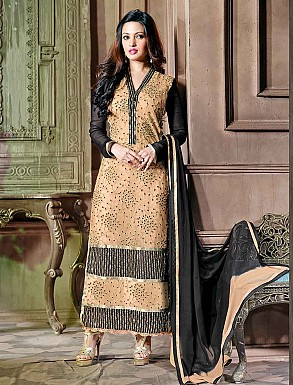 THANKAR LATEST EMBROIDERED DESIGNER CREAM & BLACK STRAIGHT SUITS @ Rs1606.00