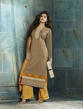 THANKAR LATEST EMBROIDERED DESIGNER BEIGE STRAIGHT SUITS @ Rs2409.00