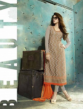 THANKAR LATEST EMBROIDERED DESIGNER GREY STRAIGHT SUITS @ Rs2409.00