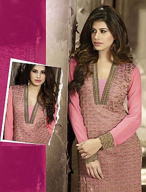 THANKAR LATEST EMBROIDERED DESIGNER PINK STRAIGHT SUITS @ Rs2409.00