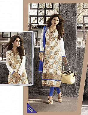 THANKAR LATEST EMBROIDERED DESIGNER WHITE & BLUE STRAIGHT SUITS @ Rs2409.00