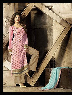 THANKAR LATEST EMBROIDERED DESIGNER PINK & BEIGE STRAIGHT SUITS @ Rs2409.00