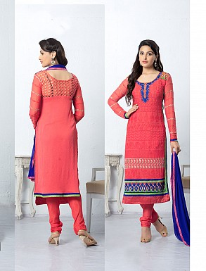 THANKAR LATEST EMBROIDERED DESIGNER PEACH STRAIGHT SUIT @ Rs1668.00