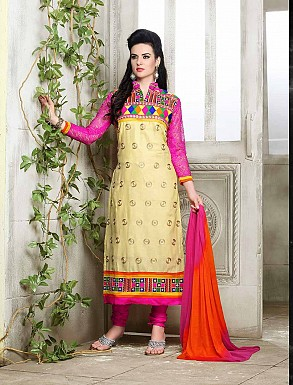 THANKAR NEW DESIGNER PINK AND CREAM STRAIGHT SUIT @ Rs1421.00