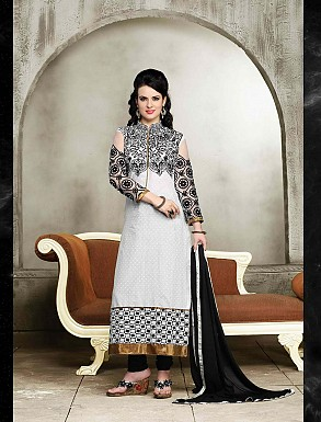 THANKAR NEW DESIGNER BLACK AND WHITE STRAIGHT SUIT @ Rs1421.00