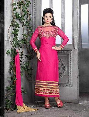 THANKAR NEW DESIGNER LIGHT PINK STRAIGHT SUIT @ Rs1421.00